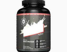3D Whey Protein Supplement Bottle