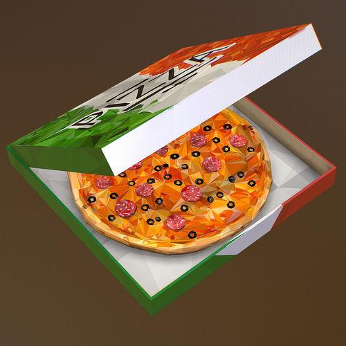 animated low polygon art italian pizza pepperoni 3d model animated max obj mtl fbx ma mb tga 1