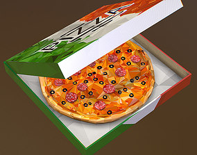 Animated Low Polygon Art Italian Pizza Pepperoni 3D model