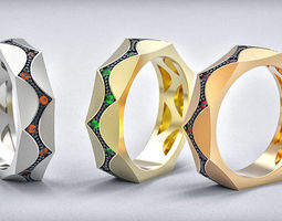 Parametrical ring 3d print model for jewelry