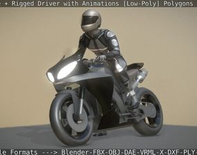 Motorbike and Rigged Biker with Animations 3D asset