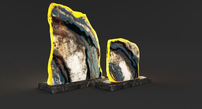 decorative figurine geode slices 3d model max obj mtl fbx 1