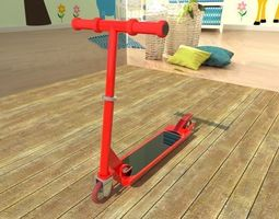 red and black scooter 3D Model