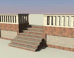 3d model brick stairs with railing  game-ready