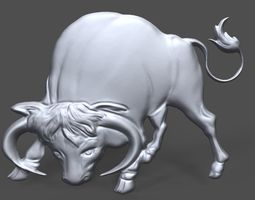 Bull bas relief for CNC 3D printable model