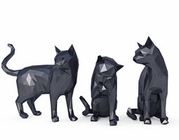 3D model low-poly Cats Low Poly