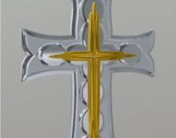 Silver and Gold Crucifix 3D model