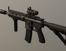 PBR Assault Rifle HK416 Game Ready 3D asset