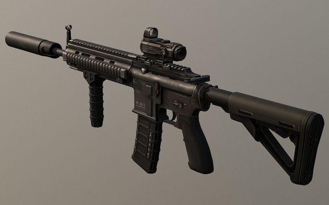 pbr assault rifle hk416 game ready 3d model obj mtl 3ds fbx stl blend dae 1