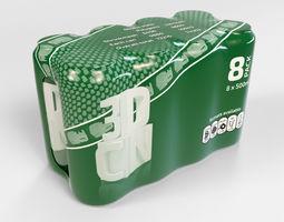 3D model 8 pack 500ml shrinkwrapped beverage cans