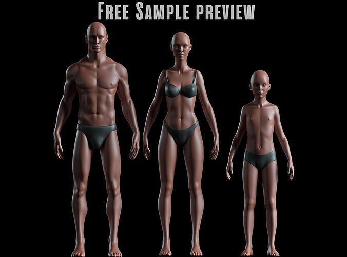 Realistic Human Basemesh - Free Sample Preview - all models