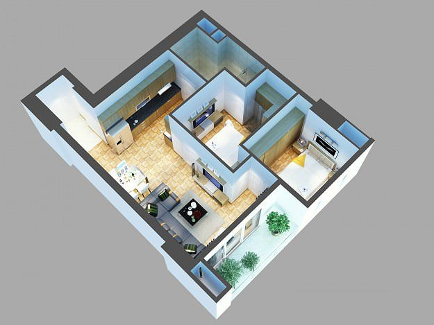3d model detailed house design cgtrader for Bedroom designs 3d model