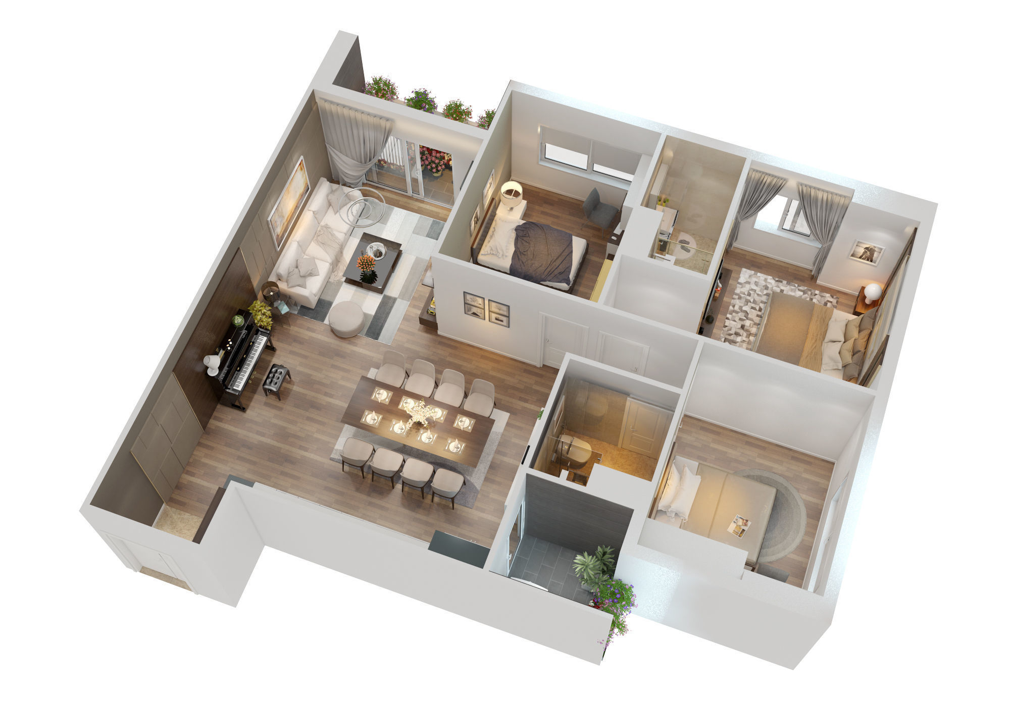 Cutaway Apartment Full Furnitures Modern Design: Dining 3D CUTAWAY MODERN APARTMENT FULL FURNITURES