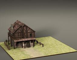 3D asset Cartoon old House