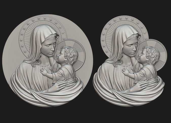 mary with child medallion  3d model obj mtl stl 1