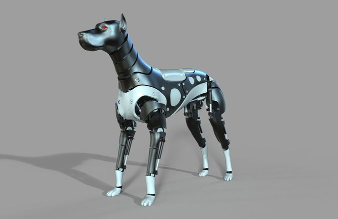 robot dog doberman 3d model rigged obj mtl 3ds fbx c4d 1
