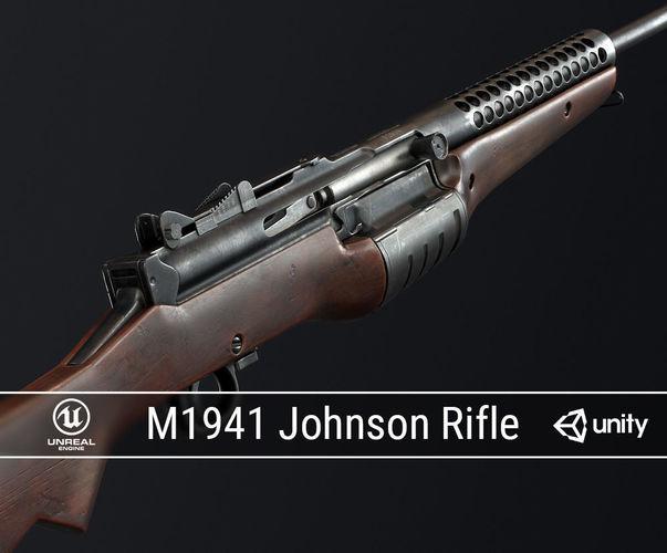 pbr m1941 johnson rifle 3d model low-poly obj fbx ma mb dae 1