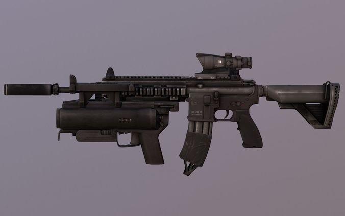 pbr-assault-rifle-hk416-with-m203-3d-mod