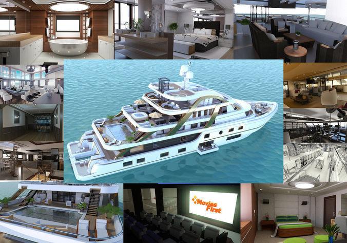 mega yatch with interior 3d model animated obj mtl fbx pz3 pp2 mel 1