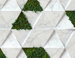 Stone Moss - Seamless wall panel texture 3D