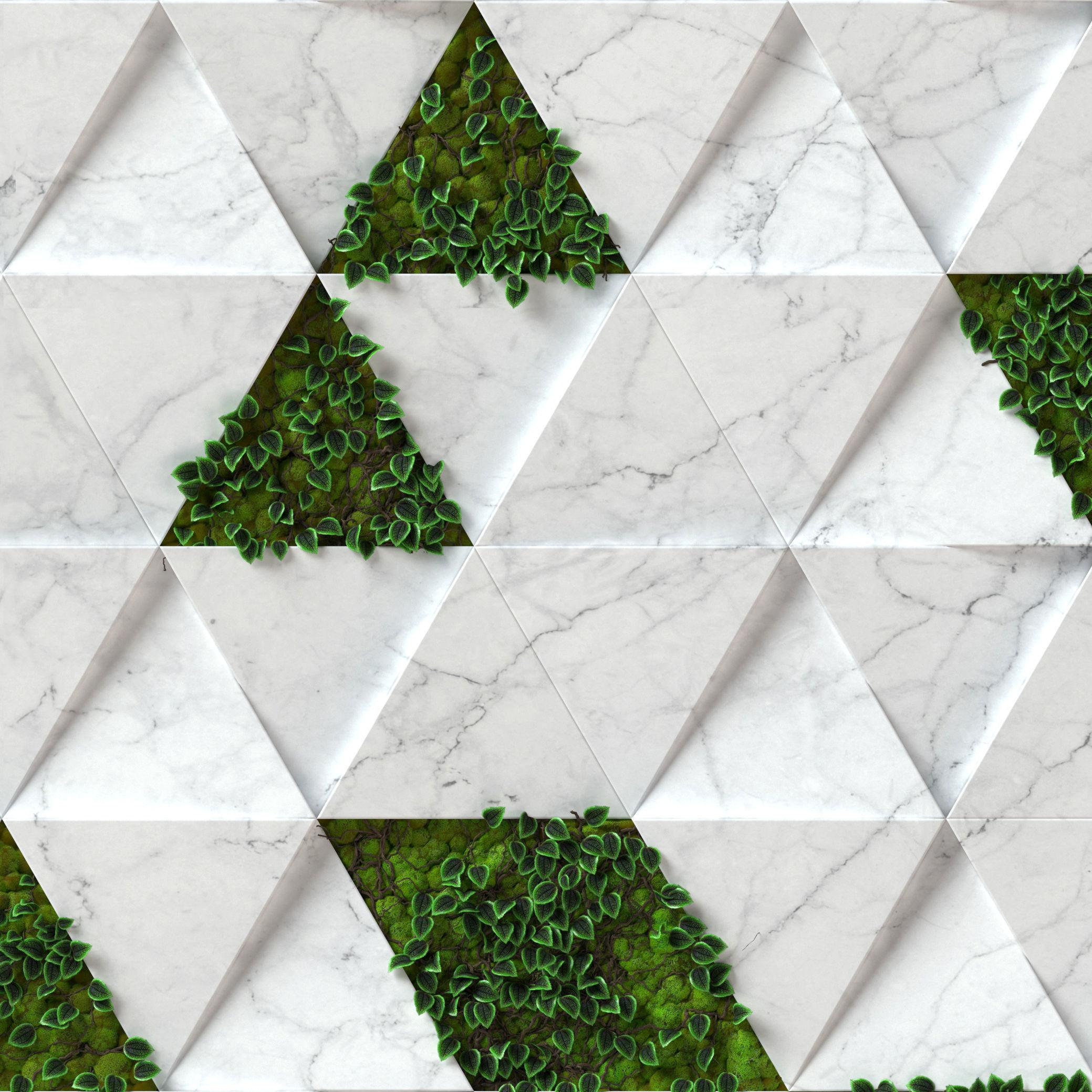 Stone Moss - Seamless Wall Panel Texture 3D