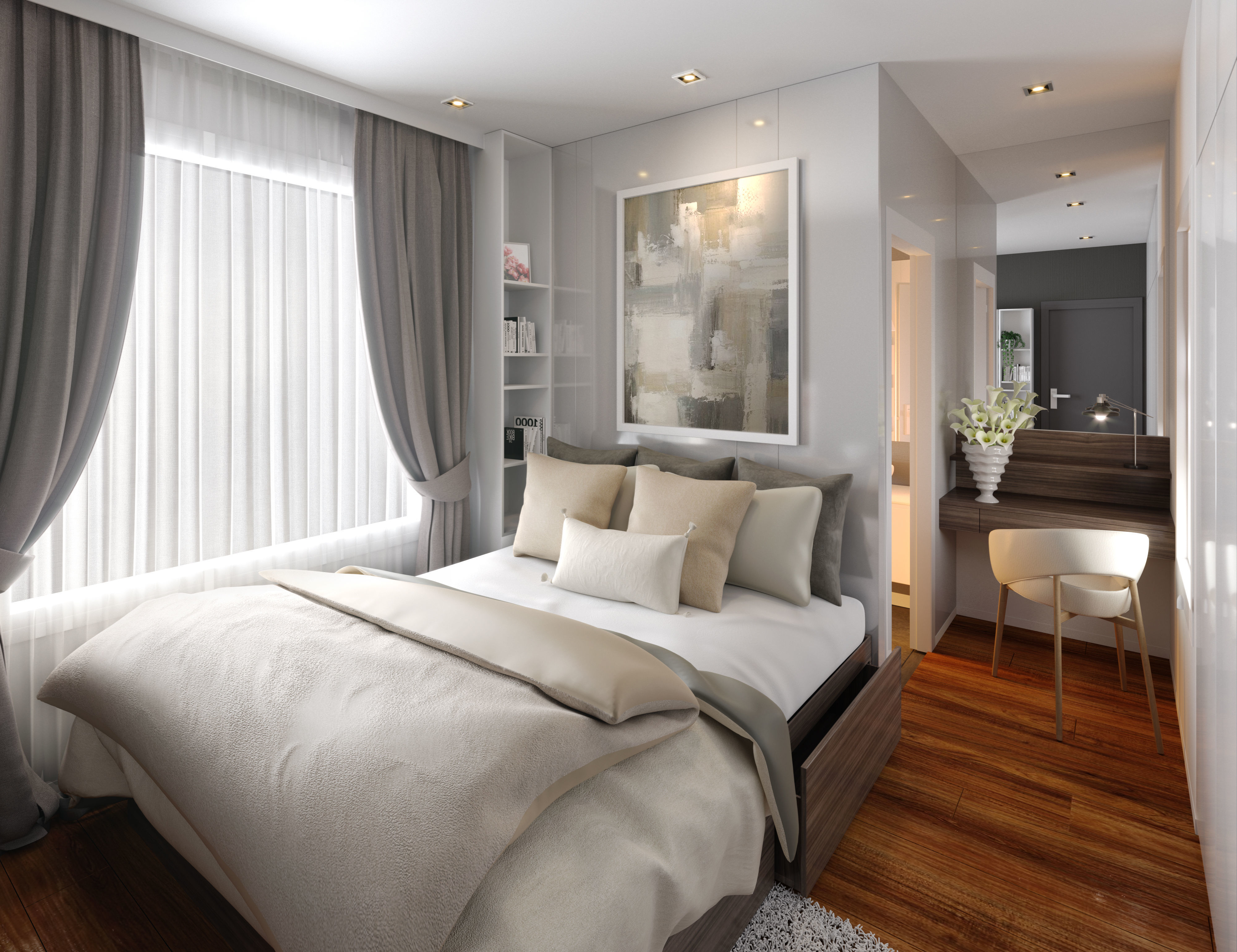Modern stylish contemporary master bedroom with wc d