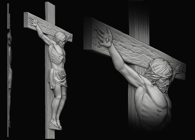 jesus on the cross relief 3d model obj mtl stl 1