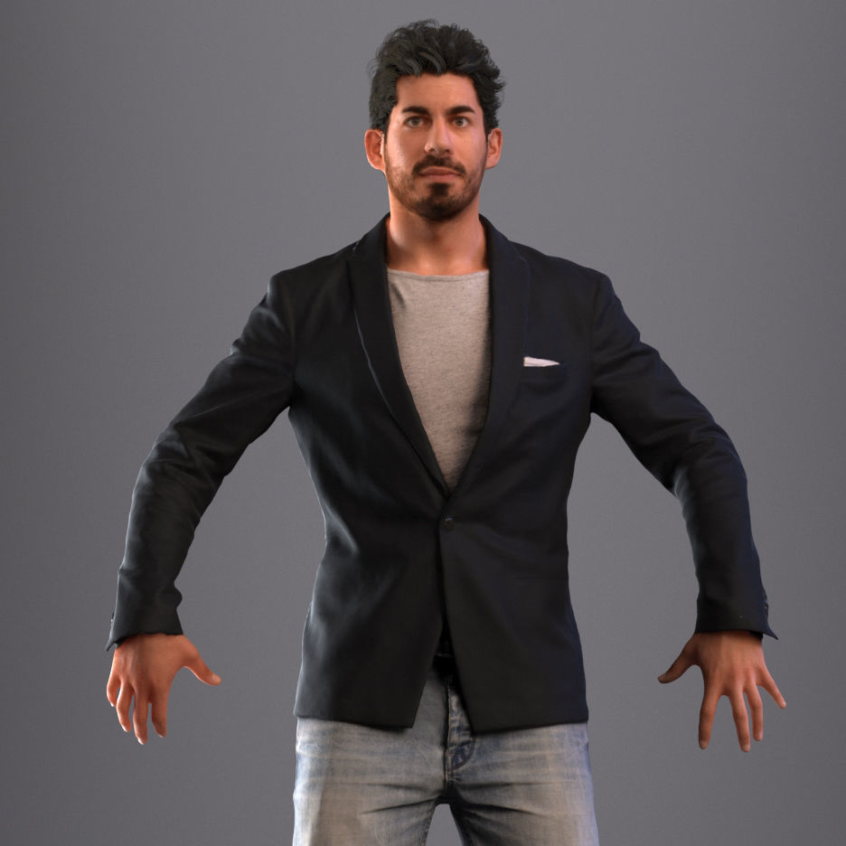 Rigged man in business casual attire with realistic hair