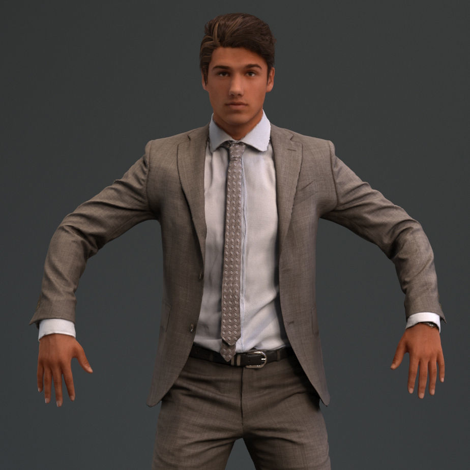 Rigged European male 3D model in business formal attire