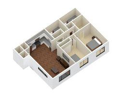 3D asset 2 Bedroom 2 bathroom apartment unit model modern