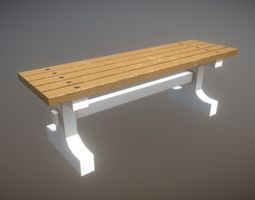 Game Ready Park Bench Wooden Painted Low-Poly 3D asset