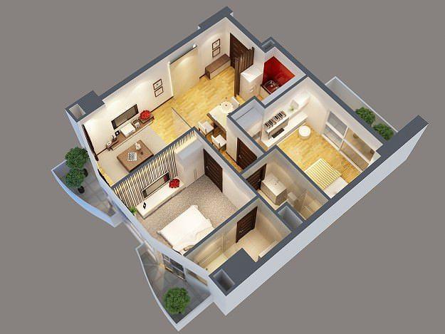 3d model modern interior apartment cgtrader for Apartment model plans