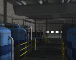 Factory control center monitor center 3D model game-ready