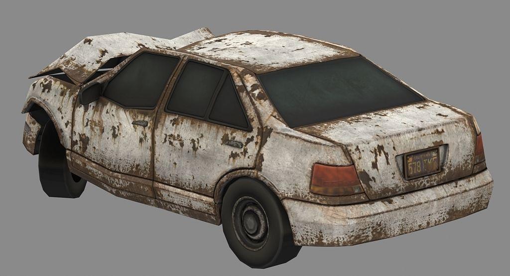 junkyard car broken cars car sedan wrecked car 3D model 1