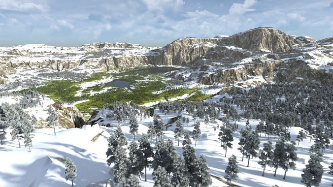 the lakes valley in blender 3d model blend 1