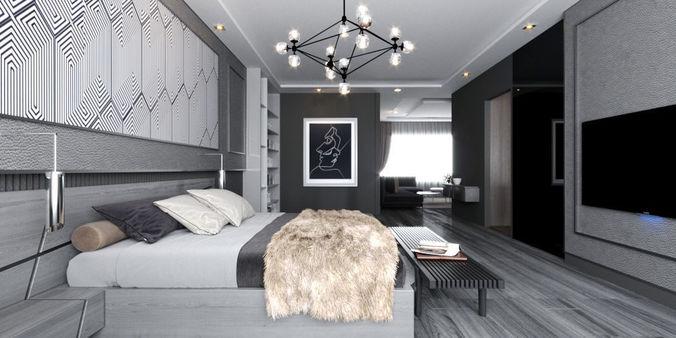 Modern Grey simple luxurious bedroom livingroom 3D model 1