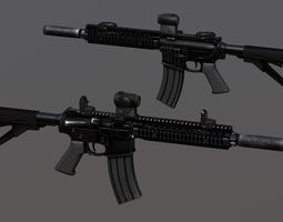 3d asset PBR ar-15 assault rifle pbr