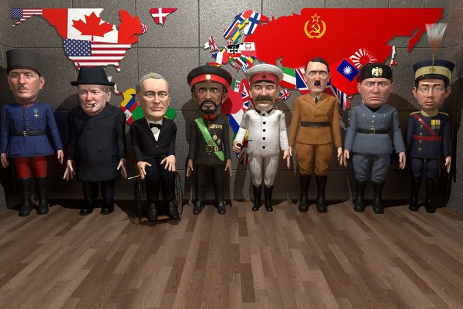 ww2 stylized leaders pack  3d model low-poly rigged animated obj mtl fbx ma mb unitypackage prefab mat 1