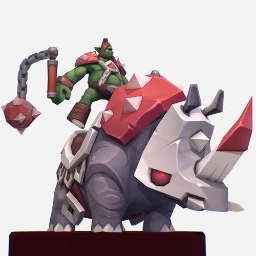 handpaint cartoon goblin rino mount mmo character 3d model low-poly max obj mtl fbx ma mb tga 1