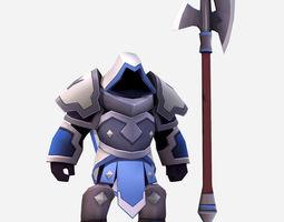 3D asset Handpaint Cartoon Armored Dark Spearman