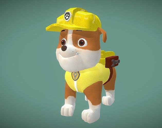rubble paw patrol 3d asset  cgtrader