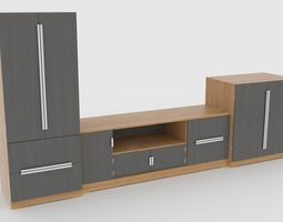 low-poly tv stand 58 3d model