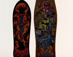 Two Classic Skateboard Decks 3D Model
