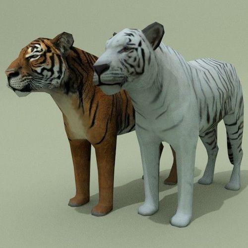 lowpoly tigers 3d model low-poly obj 3ds fbx blend 1