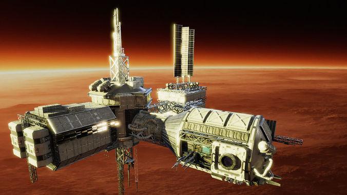 space station builder 3d model obj mtl fbx unitypackage prefab 1