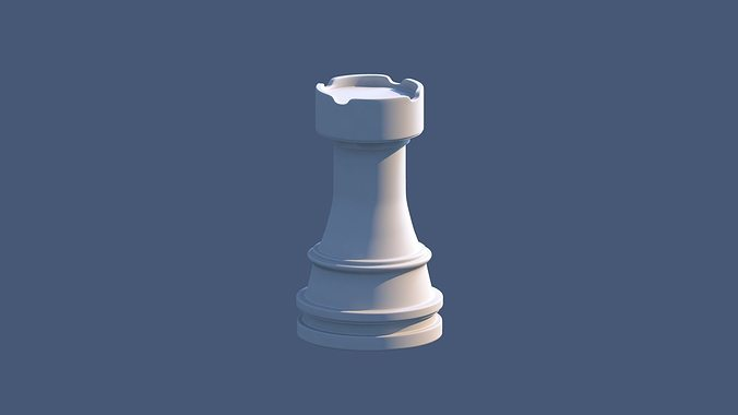 rook chess piece 3d model low-poly obj mtl ma mb 1