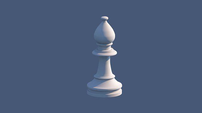 bishop chess piece 3d model low-poly obj mtl ma mb 1