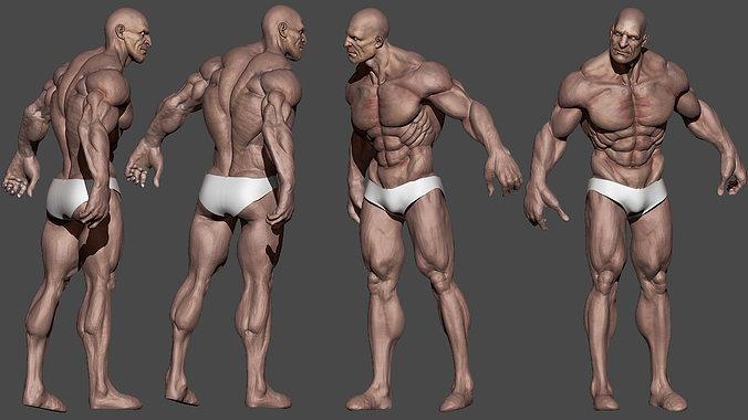 human male character 3d model low-poly obj mtl 1
