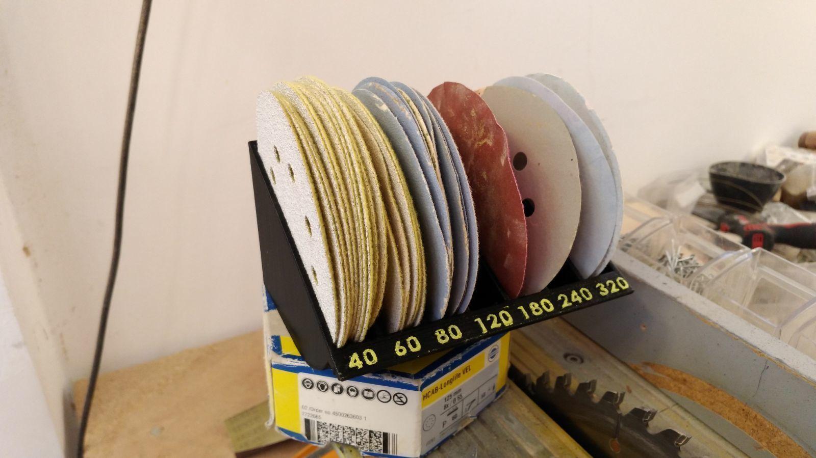... Sanding Discs Rack  Organizer   5 Inch Disks 3d Model Stl 2