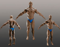 male bodybuilder a 3d model obj blend mtl